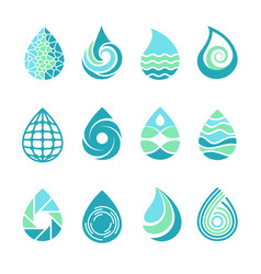drops logos colored water aqua splashes nature vector image