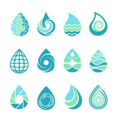 Drops logos colored water aqua splashes nature vector