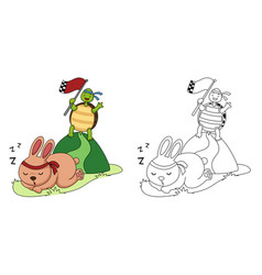 educational coloring book-turtle and rabbit vector image
