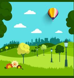 empty park flat design landscape natural scene vector image