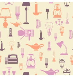 Flashlight and lamps seamless pattern vector image