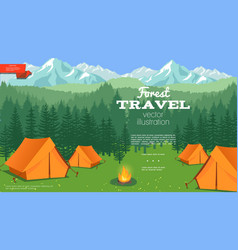 flat summer camping template vector image
