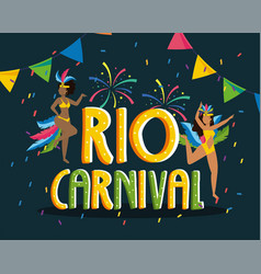 girls dancer with costume and fireworks to rio vector image