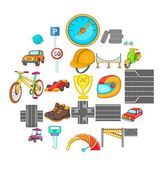 great road icons set isometric style vector image
