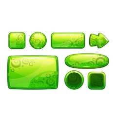 Green glossy game assets set vector