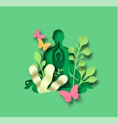 Green papercut woman in yoga lotus tree pose vector