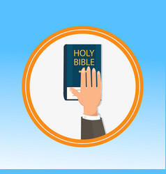 hand palm on holy bible flat vector image