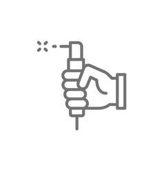 hand with welding torch welder tools line icon vector image