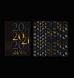 happy new year 2021 gold black card pattern set vector image