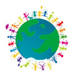 Kids playing around earth globe vector
