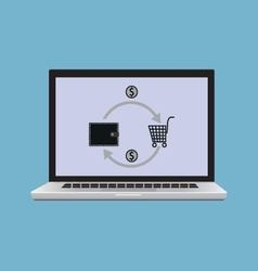 Laptop with the image of the consumer basket vector