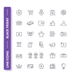 Line icons set black friday vector