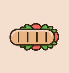 Long ciabatta sandwich vector