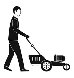 Man hold lawn mower icon simple style vector