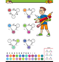 Maths calculation educational worksheet for vector