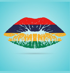mauritius flag lipstick on the lips isolated on a vector image