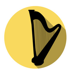 musical instrument harp sign flat black vector image