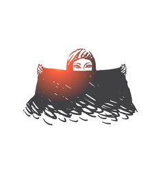 Muslim woman with black scarf concept sketch hand vector