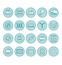 Orthopedic mattress flat line icons mattresses vector