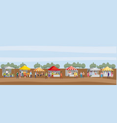 outdoor festival with food trucks awnings tents vector image