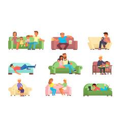 people on sofa flat style vector image