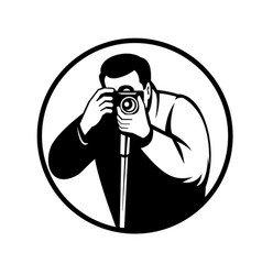photographer shooting with digital slr camera vector image