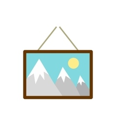 Picture hanging an wall icon flat style vector
