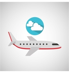 Plane travel weather forecast clouds icon vector