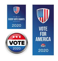 presidential election vote badge set vector image