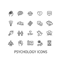 Psychology sign thin line icon set vector