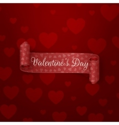 Realistic red scroll Valentines Day Ribbon vector