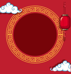 round frame on chinese pattern background vector image
