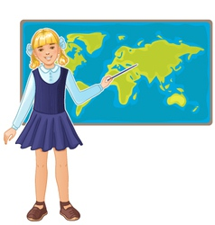 Schoolgirl at map of the world eps10 vector