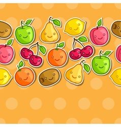 Seamless pattern with cute kawaii smiling fruits vector image