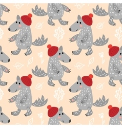 Seamless pattern with wolf vector image
