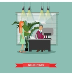 Secretary with cup of coffee vector