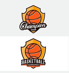 set basketball logo label badge emblem vector image
