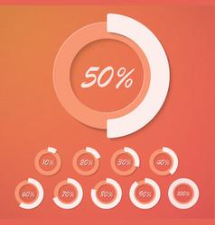 set infographic diagram percent circles vector image