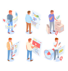 set male characters involved in online shopping vector image