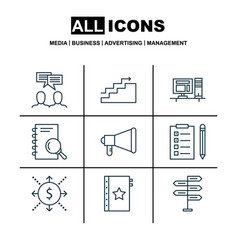 Set of 9 project management icons includes growth vector