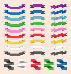 set of colored skrolled ribbons or banners vector image