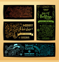 Set of doodles merry christmas banners vector