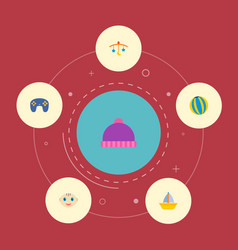 set of infant icons flat style symbols with boat vector image