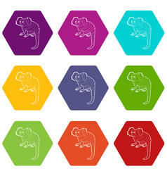 small monkey icons set 9 vector image