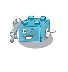 Smart mechanic lego brick toys cartoon character vector