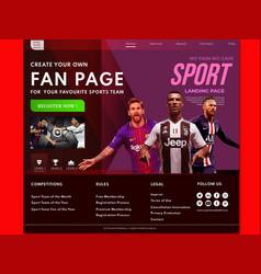 Sports landing page website vector