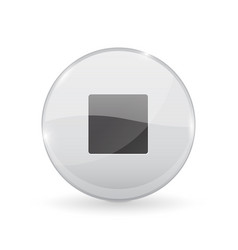 Stop button glass shiny 3d icon vector