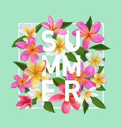 summertime floral poster tropical pink plumeria vector image