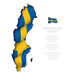 Sweden map cut out with waving flag vector