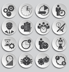 Time management related icons set on background vector